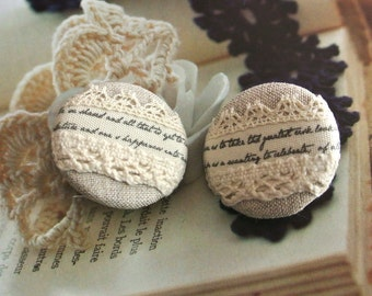 Handmade Wedding Beige Cream Script Floral Lace Fabric Covered Buttons Fridge Magnets, 1.25 Inches 2's