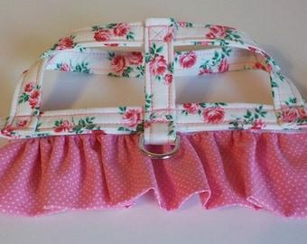 Dog Harness - Dog Clothes - Custom Dog Harness - Rosebuds and Dots - Dog Apparel -  Dog Dress - Small Dog Harness