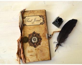 Traveler's Nortebook, Vintage Travel Journal standard Midori,  junk journal, travel scrapbook, small journal,  gift for traveler, travelogue