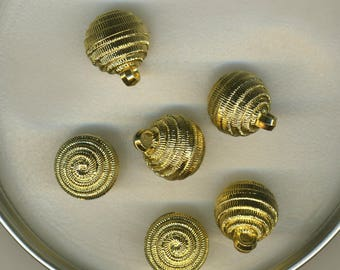 Six Golden Ball buttons engraved twist
