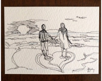 Love Art ACEO - Miniature Art Print - Contemporary Art Print - Couple drawing - Engagement - Wedding - Anniversary - Couple on the Beach