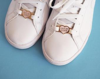 Trop de love heart pink pastel lace locks for sneakers