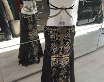 Tribal fusion mermaid skirt black and sequin