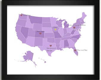 Personalized Map / United States Map in Purple - Family Is Where the Heart Is - 8x10 Art Print