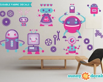 Robots Fabric Wall Decals, Wall Stickers, Robot Theme Nursery Decor, Wall Decals for Girls - Sunny Decals