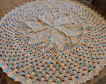 Hand Crafted Crochet Baby Blanket, Circular, Flower design Insert.