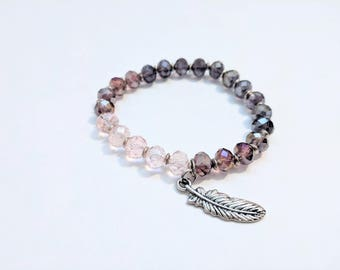 Pink and Purple Crystal Ombré Stretch Bracelet with Feather Charm