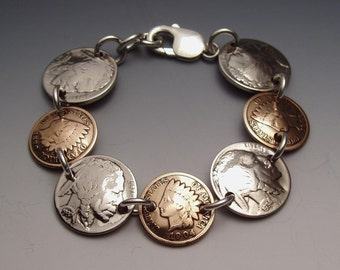 Indian Pennies Nickels Bracelet made from 7 Vintage American Coins