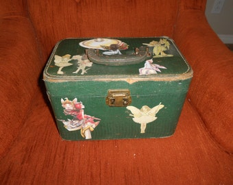 Vintage Green Train Case Decoupaged with Fairies