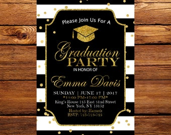 Graduation Invitation, Black and Gold Graduation Invitation, Elegant Graduation, Class of 2017, Graduation Party Invites 6
