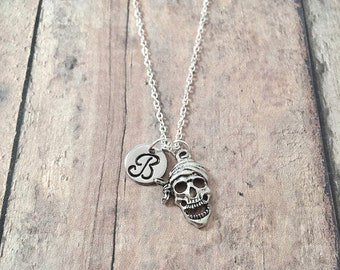 Pirate skull initial necklace - skull jewelry, pirate jewelry, skeleton jewelry, silver skull pendant, pirate necklace, skeleton necklace