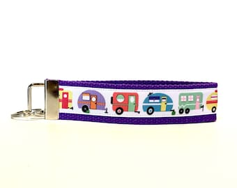 Camper Keychain Camping Key chain Camp key fob Going Camping Pull behind Camper Fifth wheel camper happy camper key fob tiny house keychain