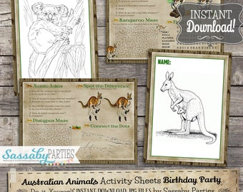 Australian Animals Activity & Coloring Sheets/Placemats - INSTANT DOWNLOAD - Birthday Party Decorations, Koala, Kangaroo by Sassaby Parties