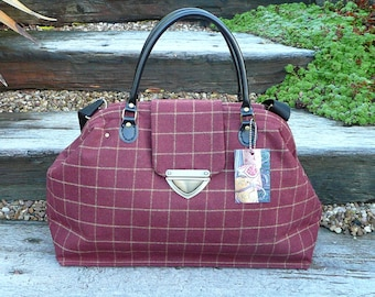 Carpet Bag, Diaper Bag, Overnight Bag, Mary Poppins Bag, Wool Tweed Bag, Hand Luggage, Cabin Luggage,