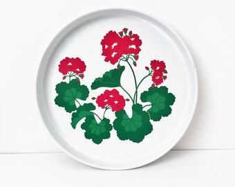 Vintage Avon Tray with Geraniums