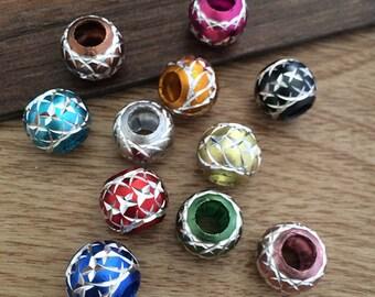 50Pcs  10mm Mixed color (x shape pattern ) aluminum  Beads