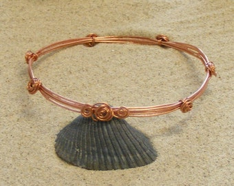Wire Wrapped Copper Bangle Bracelet with Rosettes
