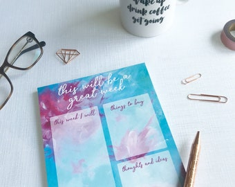This will be a great week - weekly planner, a5 notepad, to do list, desk pad, shopping list, goal planner, mindfulness gift, bridesmaid gift