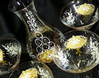 Venetian glass, hand painted set