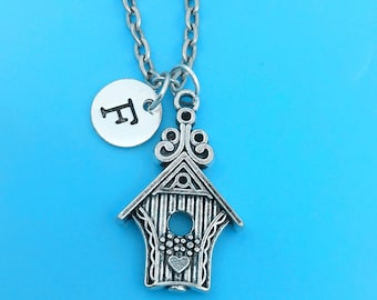 Bird house necklace, personalized necklace, bird house charm necklace, initial necklaces, bird house charm, bird house pendant, bird house