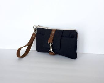 Black Waxed Canvas & Leather Smartphone Wallet, Wristlet, Clutch Purse, Small Purse