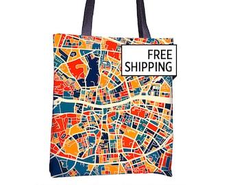 Dublin Map Tote Bag - Ireland Map Tote Bag 15x15