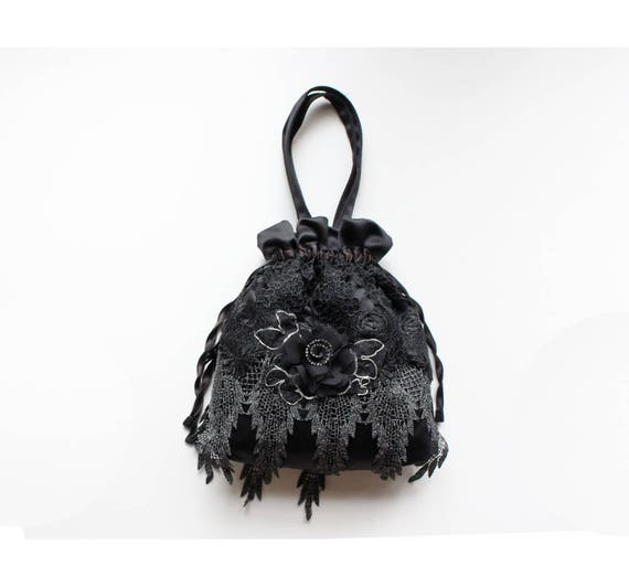 1920s Style Purses, Flapper Bags, Handbags Great Gatsby drawstring wristlet in black satin and lace flapper party bag 1920s party handbag black drawstring bag Downton Abbey bag $45.00 AT vintagedancer.com