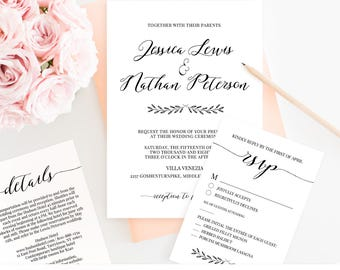 Calligraphy Wedding Invitation Set, Printable Wedding Invite, RSVP & Details, Instant Download, 100% Editable Template, Romantic Script #024