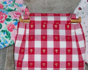 red & white checked gold anchor cloth purse