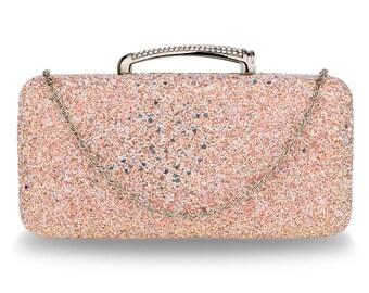 Champagne Glitter Evening Wedding Clutch Box Evening Party Bag