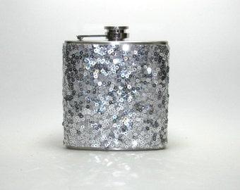 Silver Sequins Sparkly Glitter 6 oz Size Stainless Steel Liquor Hip Flask Flasks Weddings Bridesmaids Gift Idea