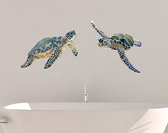 Sea turtle decals, watercolor decals, bathroom decals, nursery turtle decals, living room decals, fabric wall decal, turtle wall decals,