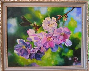 sakura art , cherry blossom art ,  purple flower blossom , flower art , flower painting , purple green painting , apple blossom art