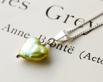 Pearl Heart Necklace. Chartreuse. Silver