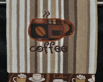 """Embroidered Dish Towel """"Small Coffee Cup"""""""
