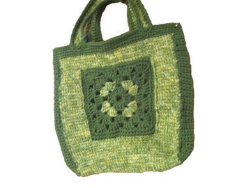Tote Bag - Granny Square in Field of Greens