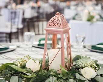 Rose Gold Lantern Centerpiece Rose Gold Wedding Decor Pink