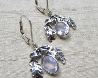 The Oak Leaf Earrings- Lavender Moon Quartz and Sterling