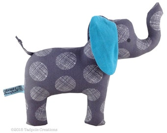 Cloth Elephant Baby Toy with Rattle - Graphite Grey with Turquoise Blue Corduroy Ear - Baby Safe - Toddler - New Baby Boy Gift