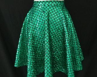 Green Mermaid Skirt - the Little Mermaid Costume -  Retro Full Skirt ... Disneybounding, Bridesmaids, VLV, Bohemian, Festival, Sorority, Pin