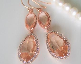 Peach Crystal earrings,Beauty Gift,Rose Gold Earrings,Chandelier Earrings,Gift to Her,Peach Jewelry,Romantic,Statement Wedding Jewellery