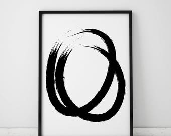 Black and White Minimalist Circle INSTANT DOWNLOAD Art, Printable Art, Abstract Art, Abstract Printable, Art Print, Black and White