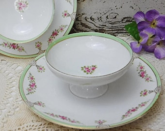 2 Mayonnaise Bowls/Serving Bowl Attached Underplate/Porcelain Condiment Bowl/Nippon/Hand Painted/Floral/Pink/Green/Gold Trim/Japan/Vintage