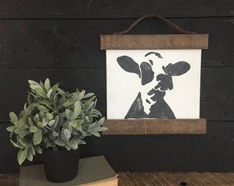 "Cow art   Farmhouse decor   Dairy cow   11""x12"""