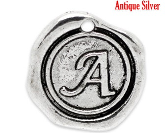 "5pcs. Antique Silver LARGE Letter ""A"" Alphabet Letter - 18mm x18mm - Wax Design"