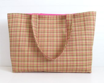 Plaid Overnight Bag - XL Tote Bag - Pink Bag - Diaper Bag - Plaid Tote