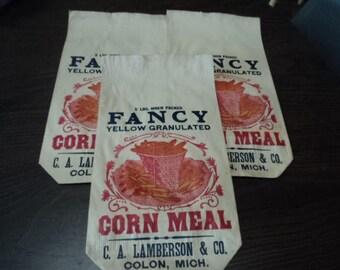 3 Vintage Lamberson Corn Meal Bags, Colon Michigan - 1890's