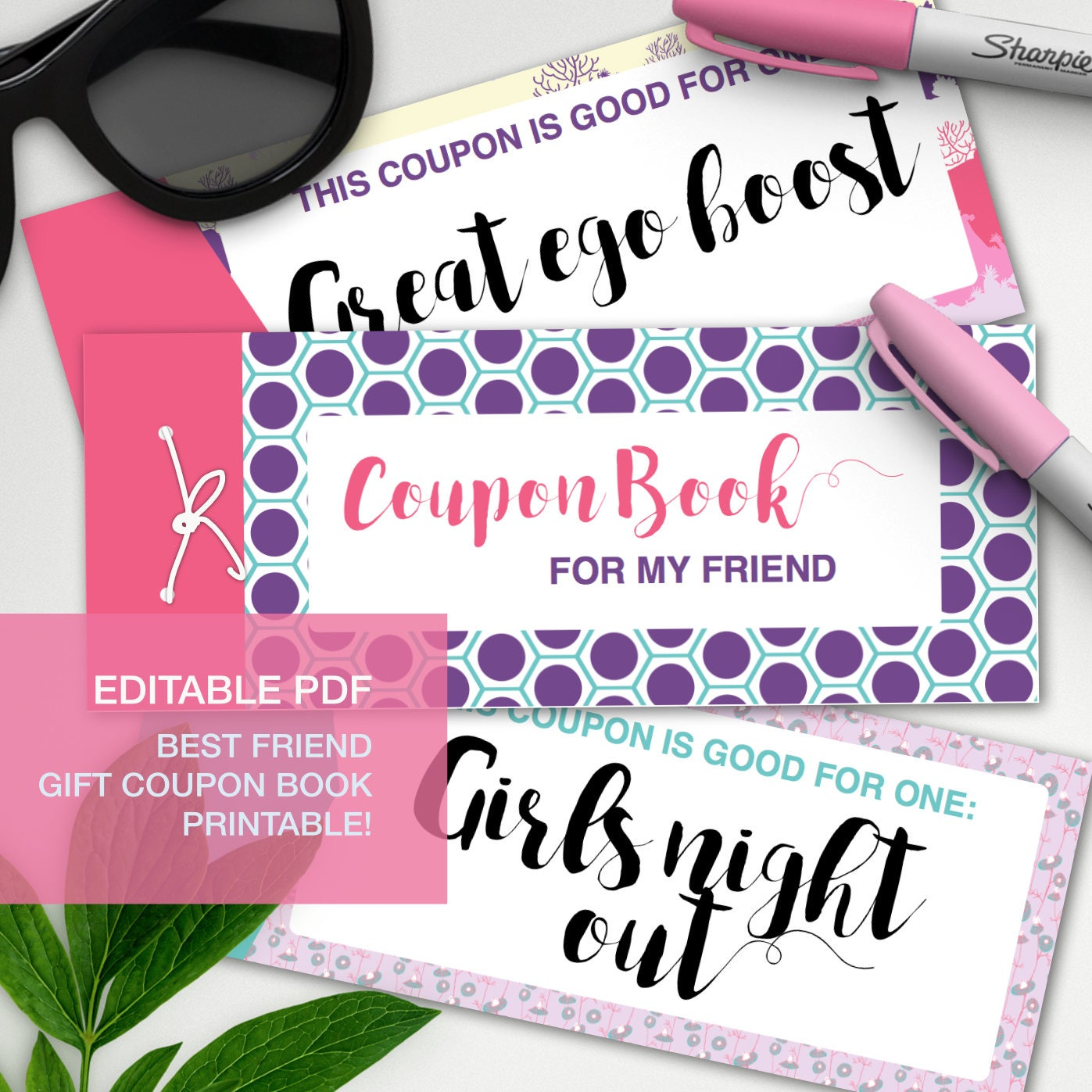 best friend gift editable coupon book gift certificate bff
