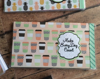 Coffee Theme Planner 2018 2019 Calendar - Unique Handmade - To-go Cups Print - Fits in your purse - Great Gift - Make Every Day Count