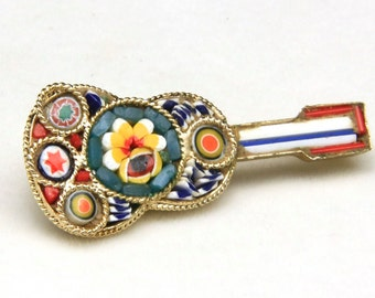 Vintage Italian Glass Micro Mosaic and Alloy Guitar Pin Brooch